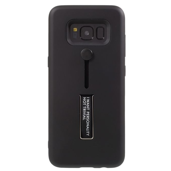 Carcasa din silicon neagra cu suport pentru deget compatibila cu Samsung Galaxy S8 Plus imagine
