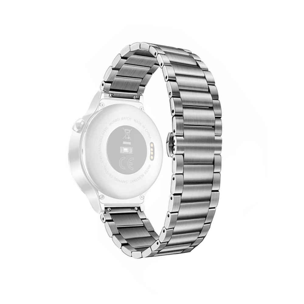Curea 20mm Huawei Watch W2 Sport,Gear S2,Moto 2nd gen 42mm,Galaxy Watch 42mm metalica argintie prindere fluture imagine