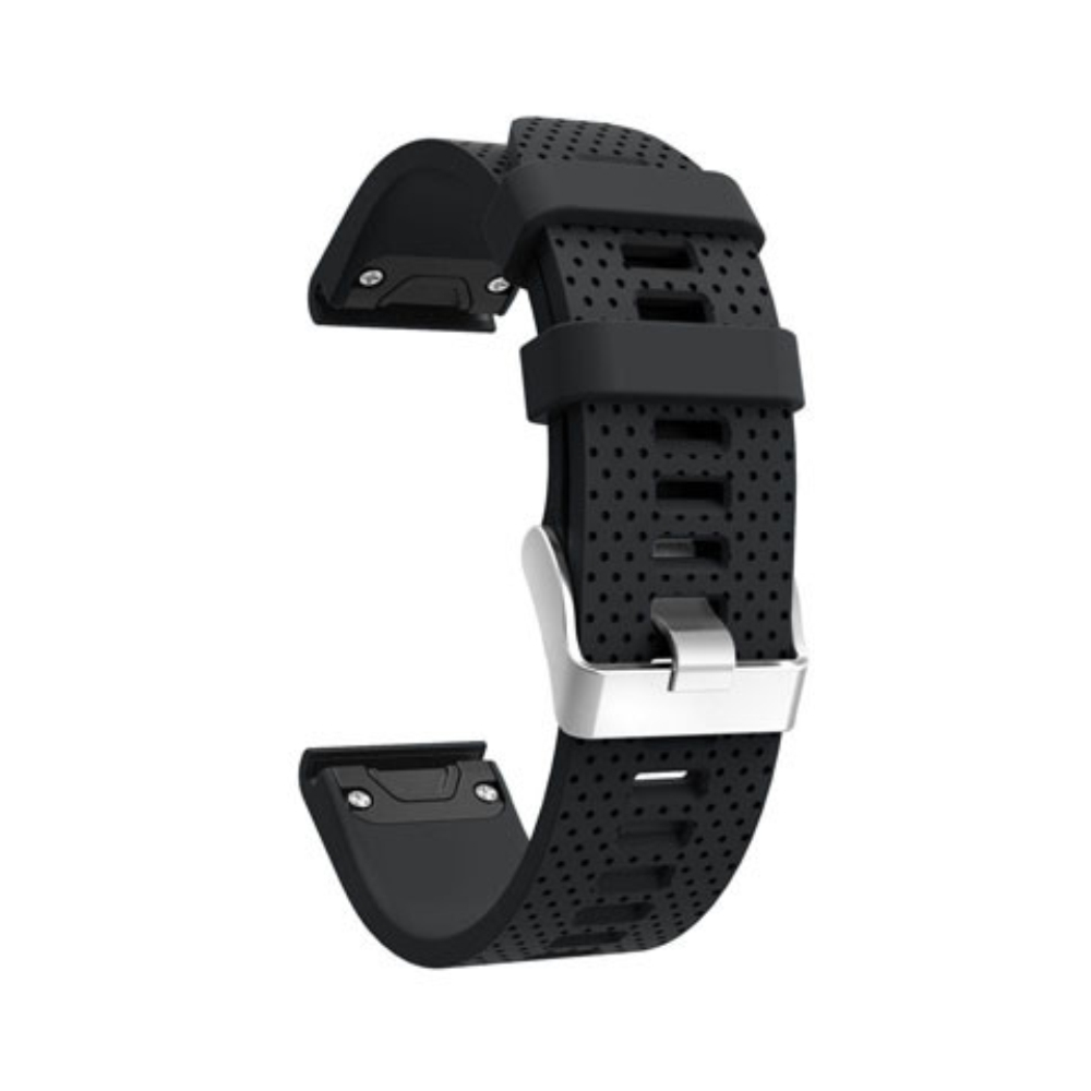 Curea 20mm Garmin Fenix 5s/5s Plus/6s/6s Pro silicon negru prindere tip QuickFit imagine