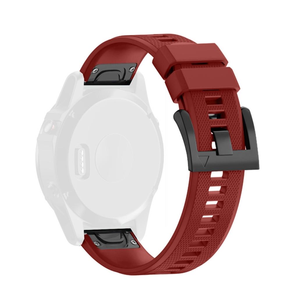 Curea 22mm Garmin Fenix 5/5 Plus/6 din silicon rosu cu 2 surubelnite incluse in pachet, prindere tip QuickFit imagine