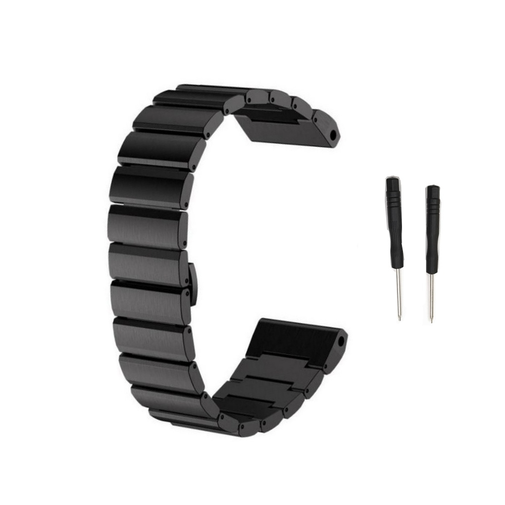 Curea 26mm Garmin Fenix 3/Fenix 5x/Fenix 5X Plus/Fenix 6x metalica neagra imagine
