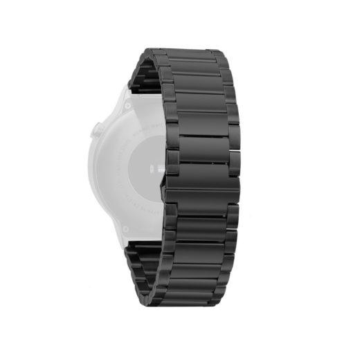 Curea metalica neagra pentru Huawei Watch W2 Sport / Samsung Gear S2 / Moto 2nd gen 42mm / Galaxy Watch 42mm cu prindere tip fluture