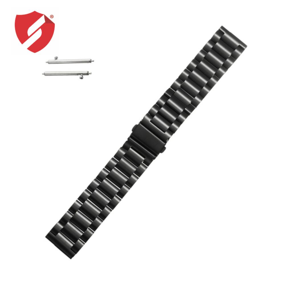 Curea metalica neagra pentru Samsung Gear S3 Classic si Frontier / Galaxy Watch 46mm / Vector Luna si Meridian / / Huawei Watch W2 Sport / Motorola 2nd gen 46mm imagine