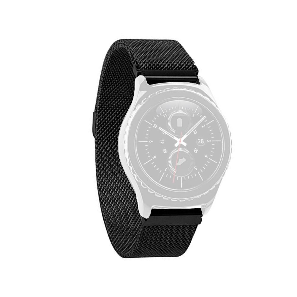 Curea 18mm Slim Huawei Watch W1,Huawei Fit,Fossil Q Tailor,Michael Kors Sofie metalica neagra imagine