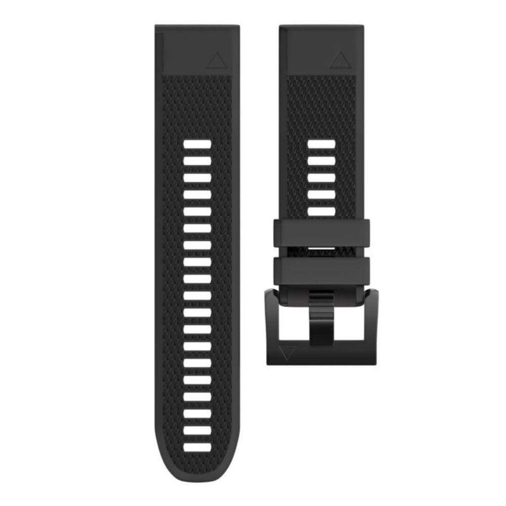 Curea 22mm Garmin Fenix 5/5 Plus/6 din silicon negru, prindere tip QuickFit imagine