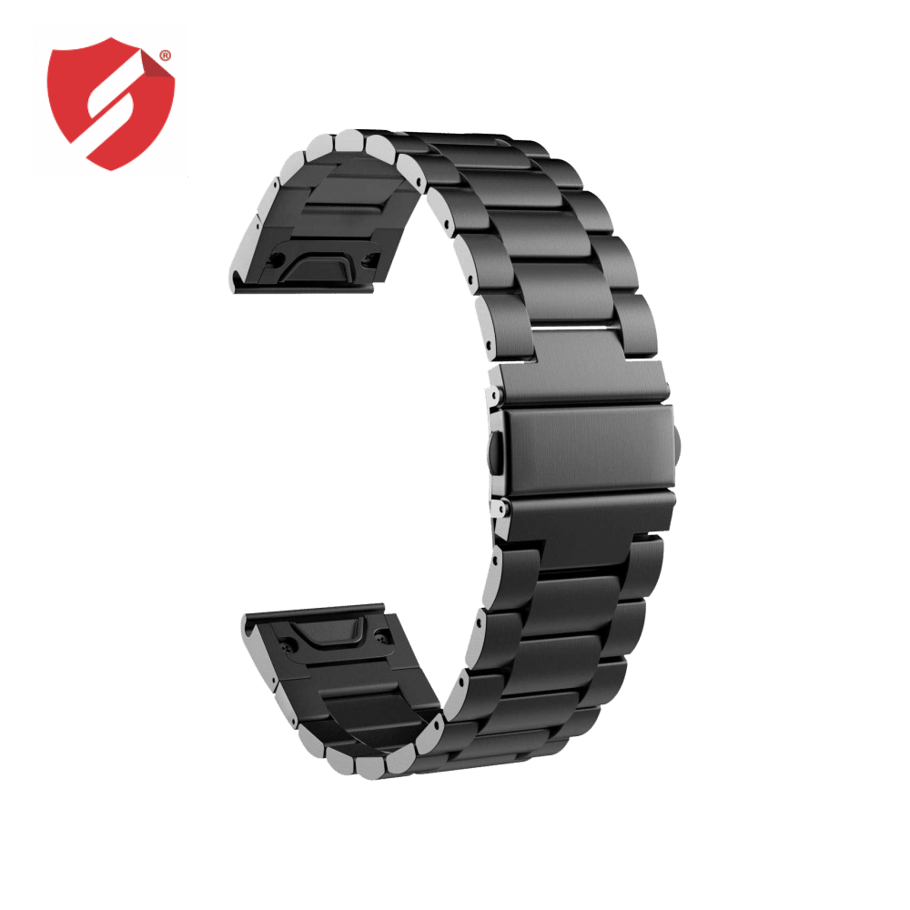 Curea 26mm Garmin Fenix 3/5x/5X Plus/6X/6X Pro Solar inox negru imagine