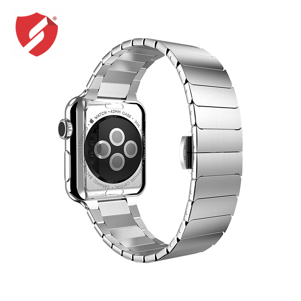 Curea Apple Watch 42/44 Series 1/2/3/4/5 cu zale metalice tip Link Bracelet, inox silver prindere Fluture imagine