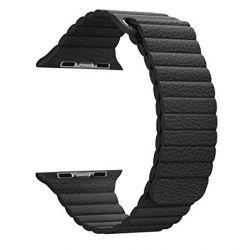 Curea neagra din piele tip Leather Loop compatibila cu Apple Watch 38mm / Series 4 de 40mm imagine