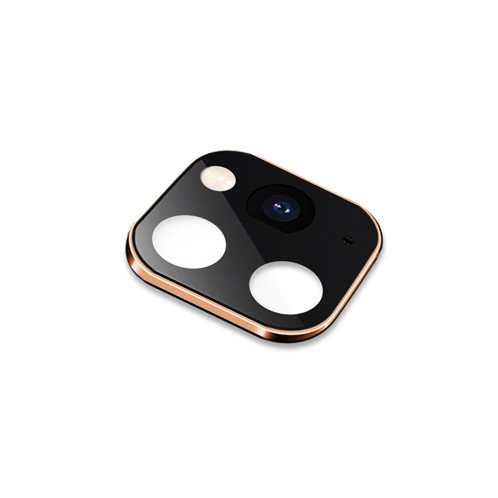 Protectie neagra cu rama gold Smart Protection pentru lentile camera iPhone 11 imagine